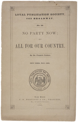 Political Pamphlet, New York, 1863 Civil War