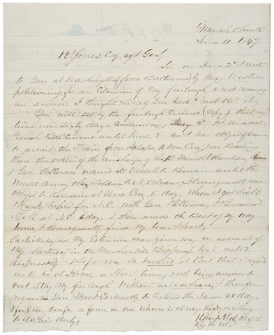 1847, Letter Requesting Extension of a Furlough