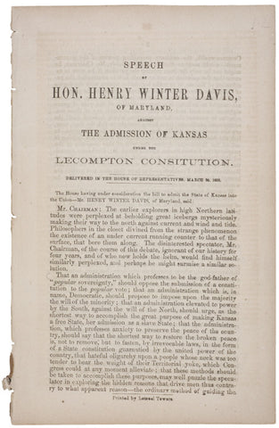 1858, Speech Against Admission of Kansas