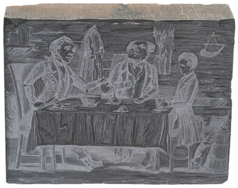 c. 1830, Woodblock Printing Plate - Backwood Cabin