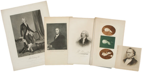 19th C., 5 Portrait Prints of Famous Americans