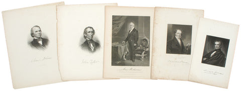 Five Presidential Prints: Polk, Johnson, Buchanan