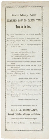 c. 1870 Lyric Sheet DANCE THE TRA-LA-LA-LOO