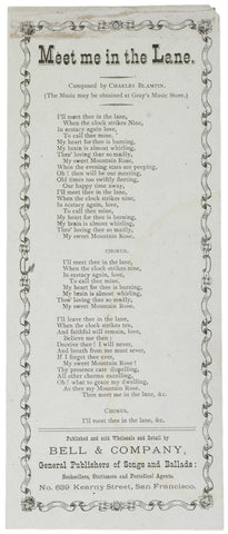 Lyric Sheet: MEET ME IN THE LANE, c. 1870