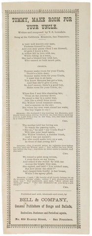 c. 1870, San Francisco Lyric Sheet
