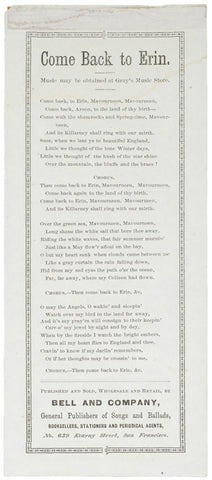 c. 1870 Lyric Sheet: Come Back to Erin