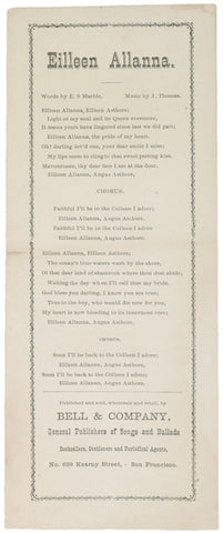 c. 1870 Lyric Sheet for FAITHFUL I'LL BE...