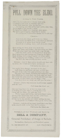 c. 1870 Lyric Sheet for PULL DOWN THE BLIND