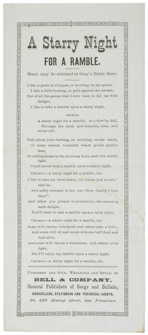 A STARRY NIGHT FOR A RAMBLE, c. 1870 Lyric Sheet