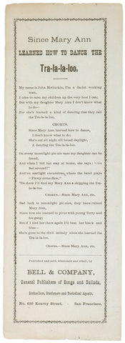 c. 1870 Lyric Sheet: Since Mary Ann LEARNED