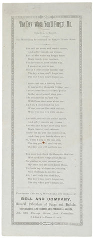 c. 1870 Lyric Sheet: Day When You-ll Forget Me