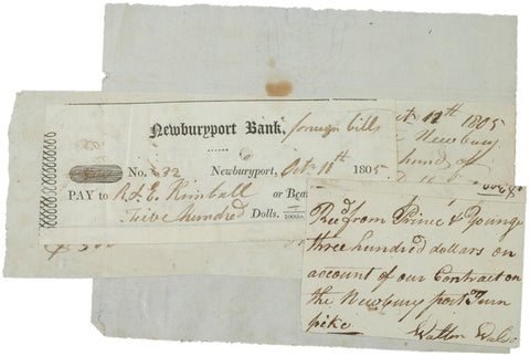 1804-1805, Receipts for the Newburyport Turnpike