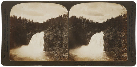 1904 Stereocard: Upper Falls Yellowstone Park