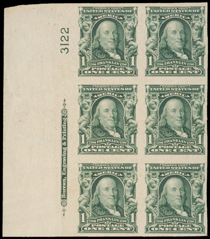 STAMPS: Plate Imprint Block of 6 Scott 314 Stamps