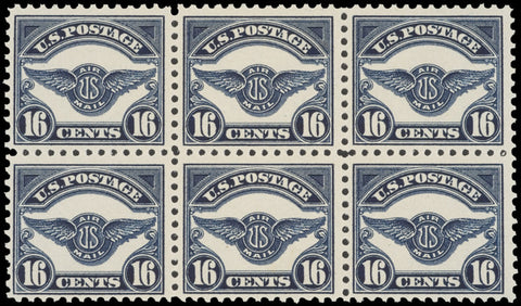 STAMPS: Block of Six Scott C5 16¢ Air Mail Stamps