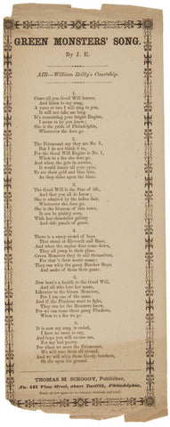 Civil War Era Song Sheet: Green Monsters' Song