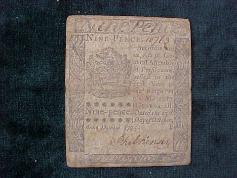 American Colonial Continental Currency, #1007 Nine Pence Denomination