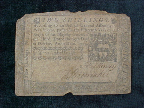 American Colonial Continental Currency, #1011 Two Shillings Denomination