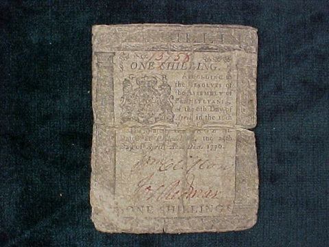 American Colonial Continental Currency, #1013 One Shilling Denomination