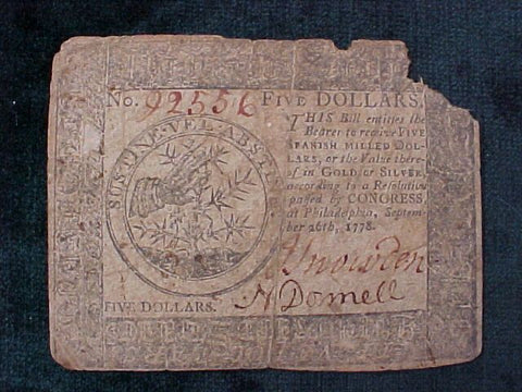 American Colonial Continental Currency, #1020 Five Dollars Denomination
