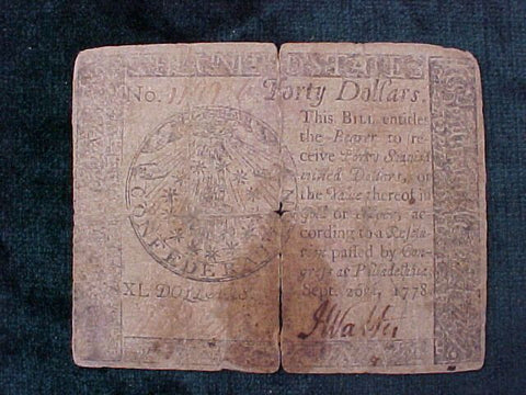 American Colonial Continental Currency, #1030 Forty Dollars Denomination