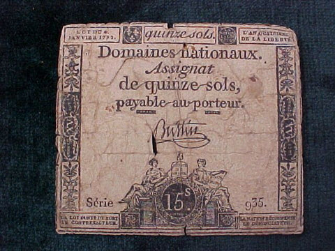 French Paper Currency, #1042 Early Paper Currency, 15 Sols Denomination