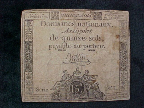 French Paper Currency, #1043 Early Paper Currency, 15 Sols Denomination