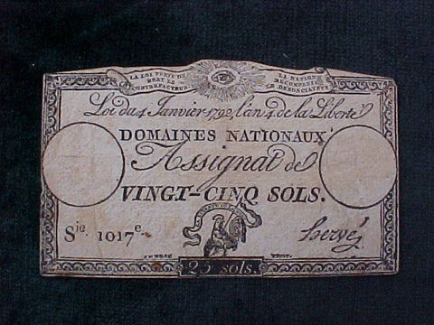 French Paper Currency, #1044 Early Paper Currency, 25 Sols Denomination