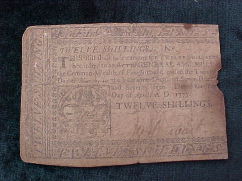 American Colonial Continental Currency, #1045 Twelve Shillings Denomination