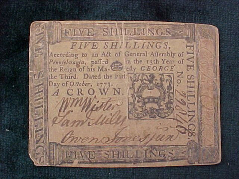 American Colonial Continental Currency, #1051 Five Shillings Denomination