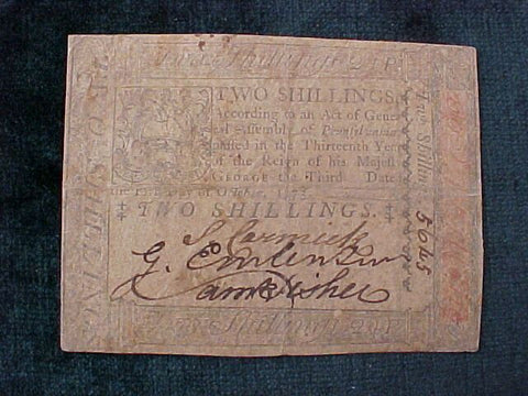 American Colonial Continental Currency, #1054 Two Shillings Denomination