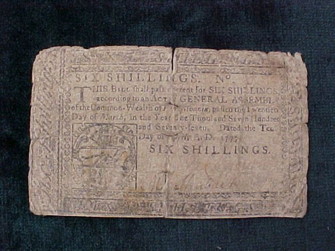 American Colonial Continental Currency, #1067 Six Shillings Denomination