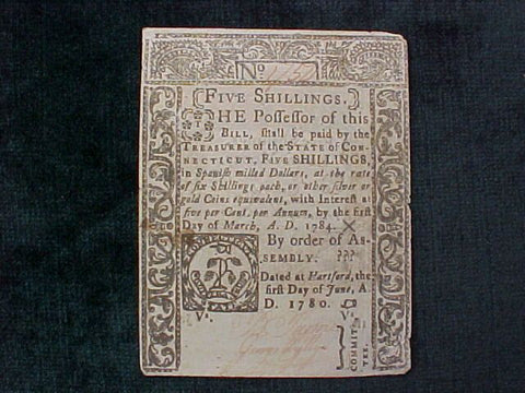 American Colonial Continental Currency, CONNECTICUT, #1079 Five Shillings Denomination