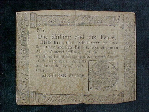 American Colonial Continental Currency, #1114 One Shilling Denomination
