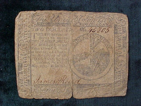 American Colonial Continental Currency, #1118 Two Dollars Denomination