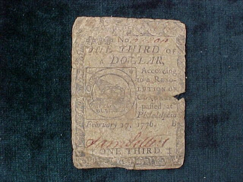 American Colonial Continental Currency, #1129 One Third of a Dollar Denomination