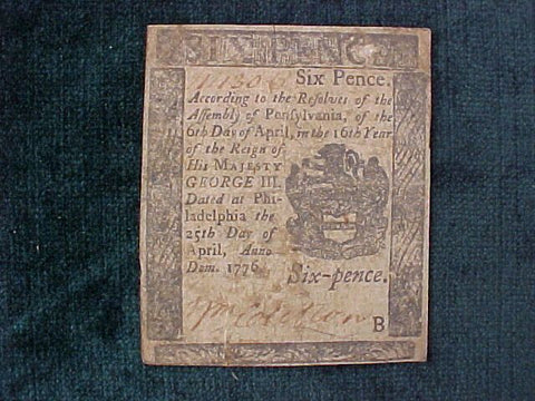 American Colonial Continental Currency, #1132 Six Pence Denomination