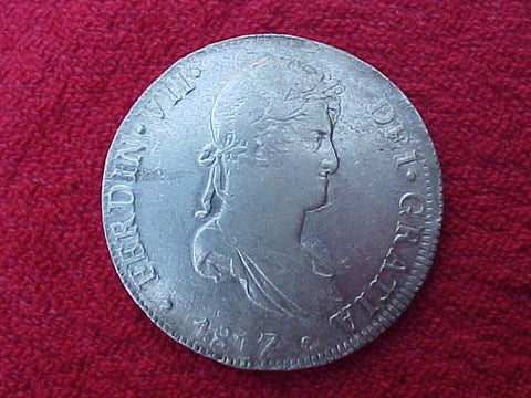 1817 Spanish 8 Reales Portrait Milled Dollar, FERDINAND VII, LIMA, PERU, #1165 Colonial Coins