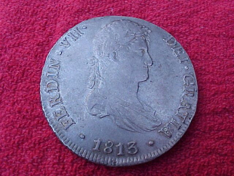 1813 Spanish 8 Reales Portrait Milled Dollar, FERDINAND VII, LIMA, PERU, #1168 Colonial Coins