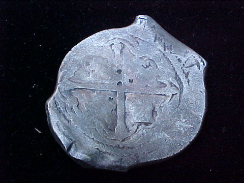 Spanish New World Silver 8 Reales COB, MEXICO, P, PHILIP IV, 1212 From The Shipwreck CONCEPCION 1641