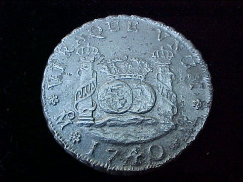 Spanish New World Silver 1740 MEXICO, MF, 4 Reales PILLAR SCREW PRESS, From The HOLLANDIA 1743, #1218