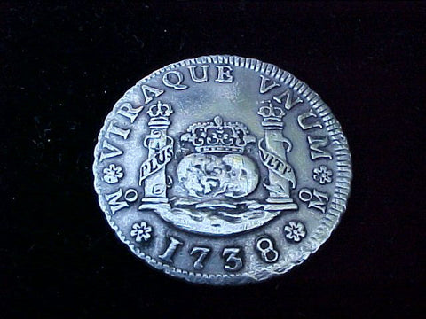 Spanish New World Silver 1738, MEXICO, MF, 2 Reales PILLAR, #1219 Colonial Coins