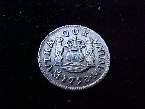 Spanish New World Silver 1753, MEXICO, M, 1/2 Reales PILLAR, #1221 Colonial Coins