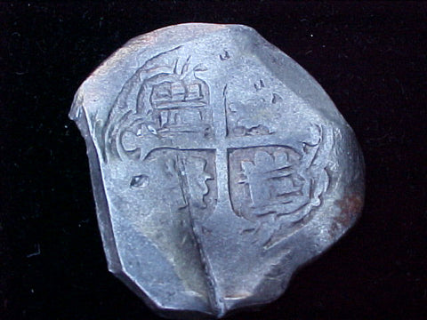 Spanish New World Silver 8 Reales COB, MEXICO, P, PHILIP IV, #1239 From The Shipwreck CONCEPCION 1641