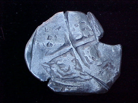 Spanish New World Silver 8 Reales COB, MEXICO, P, PHILIP IV, #1241 From The Shipwreck CONCEPCION 1641