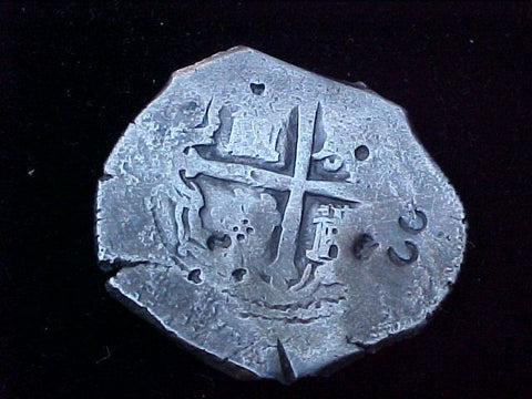 Spanish New World Silver 8 Reales COB, MEXICO, P, PHILIP IV, #1242 From The Shipwreck CONCEPCION 1641