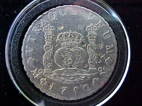 Spanish New World Silver 1752 MEXICO, MF, 8 Reales PILLAR SCREW, #1250 Colonial Coins