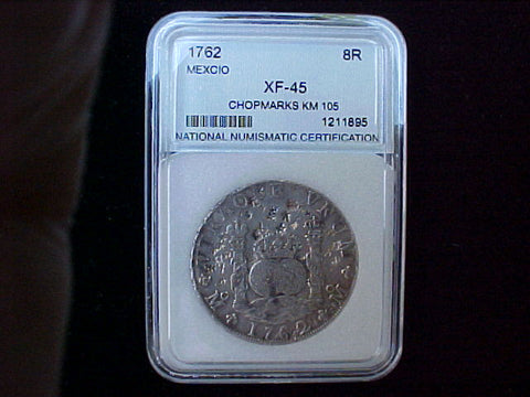 Spanish New World Silver SLABBED NNC, 1762 MEXICO, MM, 8 Reales PILLAR SCREW PRESS