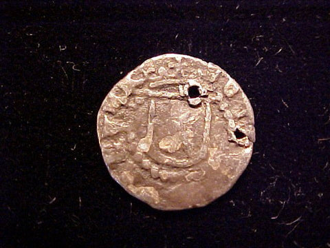 Spanish New World Silver 1/4 Reale COB, POTOSI or LIMA, L, PHILIP II-III, #1373 Colonial Coins