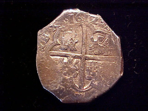 Spanish Old World Silver 4 Reales COB Dated 1612, SPAIN, PHILIP III. #1387 Colonial Coins